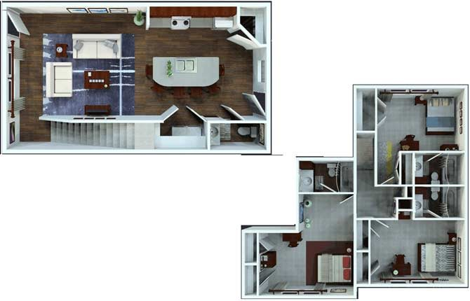 3 Bed / 3.5 Bath Townhome Floor Plan 6