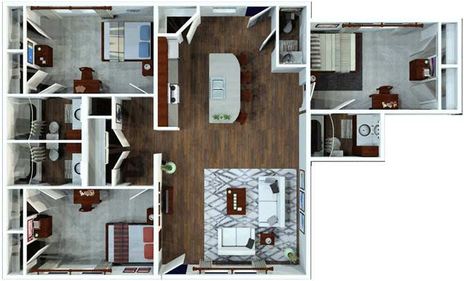 3 Bed / 3.5 Bath Flat Floor Plan 4