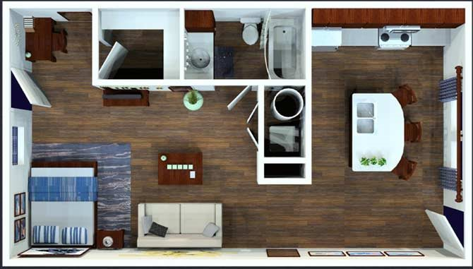Studio / 1 Bath Floor Plan 1