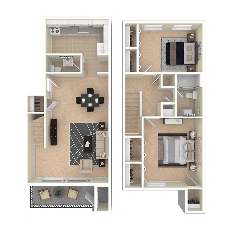 Maplewood Villas Apartments Two Bedroom Duplex
