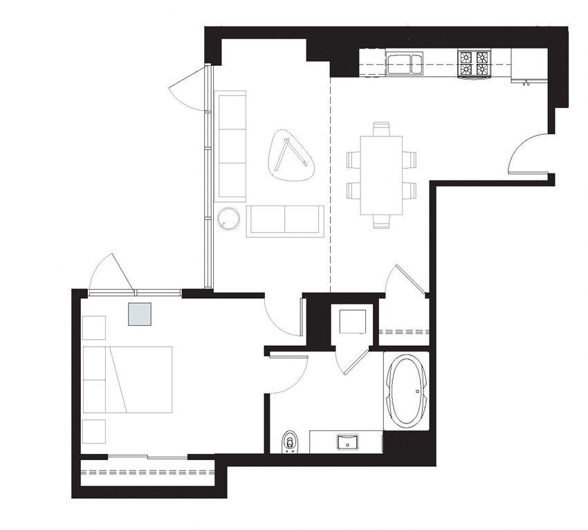 Delancy - 1 Bedroom 1 Bath Floor Plan Layout - 740 Square Feet
