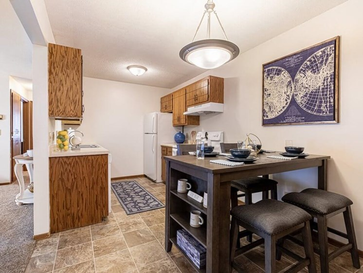 Kitchen and dining area in Uppertown Apartments