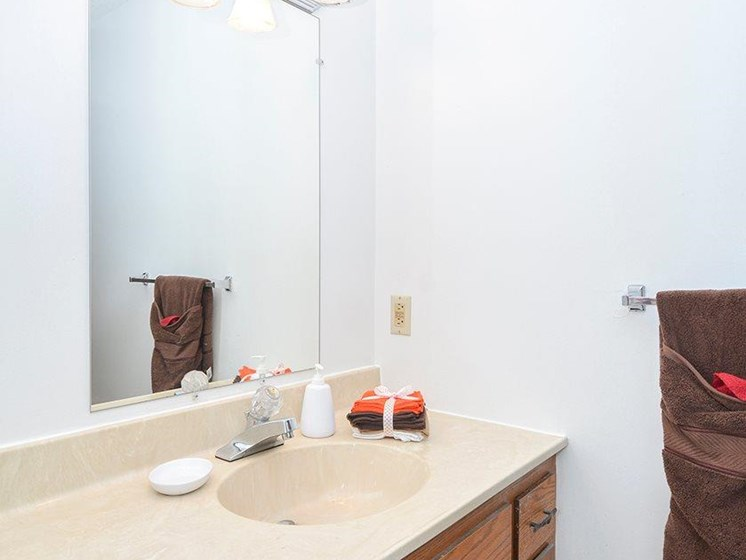 Bathroom at Uppertown Apartments in Saint Cloud, MN