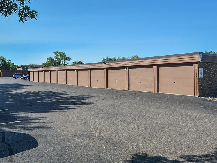 Garages at Upper Town Apartments in St. Cloud, MN.