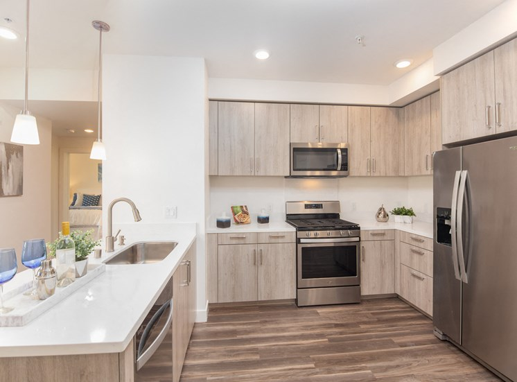 Chef-Inspired Kitchens Feature Stainless Steel Appliances at AURA, California, 95110