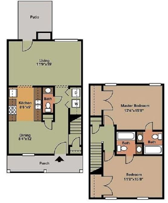 2 Bed 2.5 Bath Floor Plan at Beamon's Mill, Suffolk