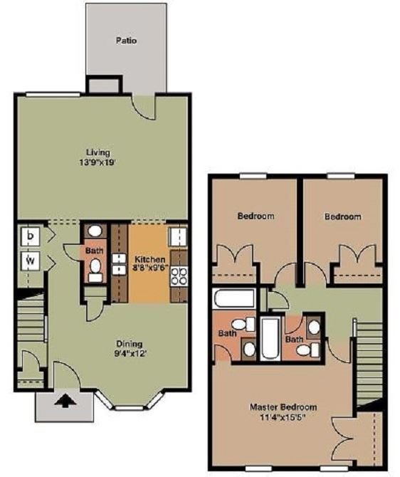3 Bed 1.5 Bath Floor Plan at Beamon's Mill, Virginia, 23434