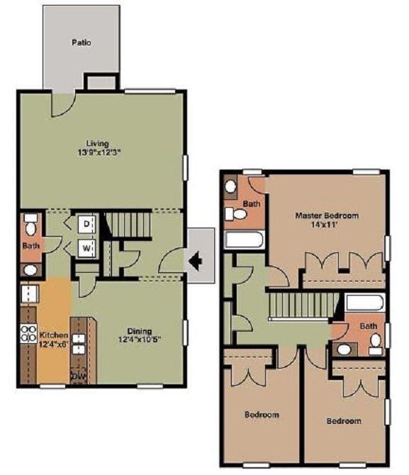 3 Bed 2.5 Bath Floor Plan at Beamon's Mill, Suffolk, VA, 23434