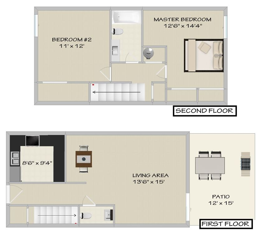 Two Bedroom 1.5 Bath Townhome