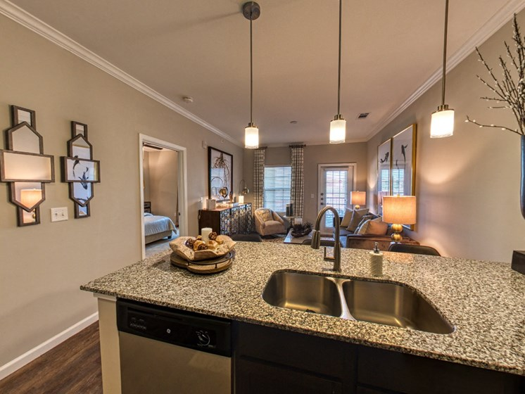 kitchen island in open concept apartment unit