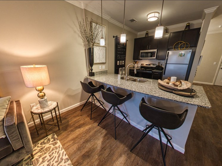 apartment unit with barstools