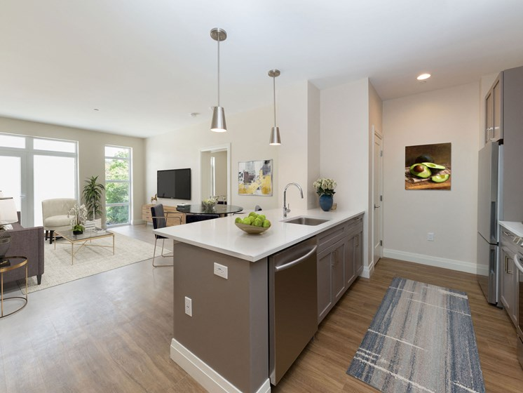 Spacious Kitchen Islands at 28 Austin in Newton, Ma
