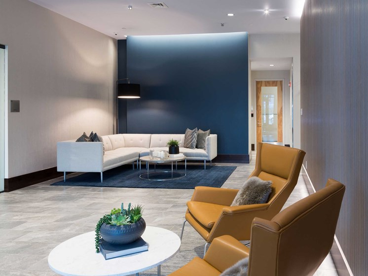 Lobby Sitting Area at 28 Austin, Newton, MA, 02460