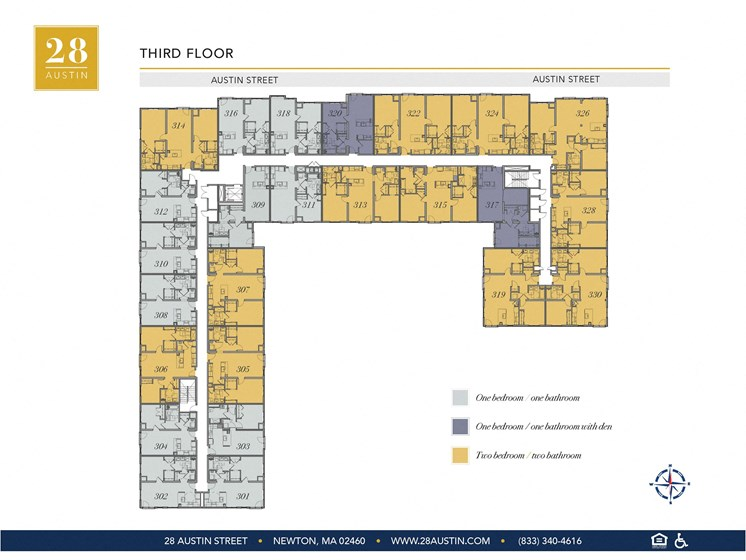 Map of Third Floor at 28 Austin St, Newton, 02460