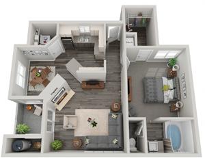3d 1 bedroom floor plan   Mirasol Apartments in Las Vegas, NV