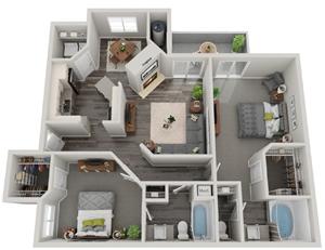 3d 2 bedroom floor plan   Mirasol Apartments in Las Vegas, NV