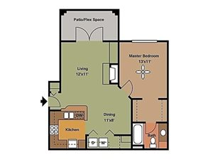 Remington At Lone Tree one bedroom with patio 759 sqft