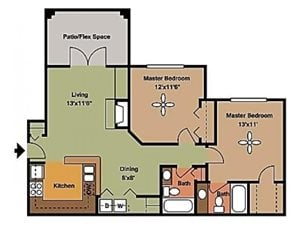 Remington At Lone Tree two bed two bath with patio/balcony 949 sqft