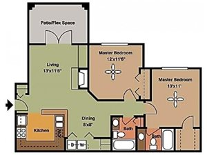 Remington At Lone Tree two bed two bath with patio 1069 sqft