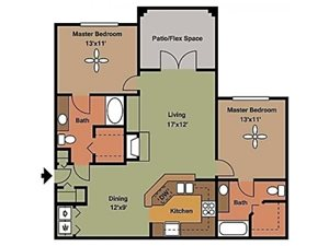 Remington At Lone Tree two bed two bath with one bedroom on either side of the living space 1089 sqft