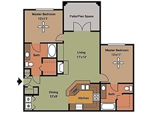 Remington At Lone Tree 2 bed 2 bath with bedrooms on either side of living space 1209sqft
