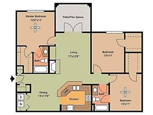 Remington At Lone Tree three bed two bath with balcony and large closets 1280sqft