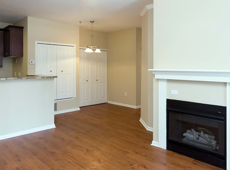 Remington at Lone Tree Living room with hardwood-style flooring, fireplace and kitchen in the backround