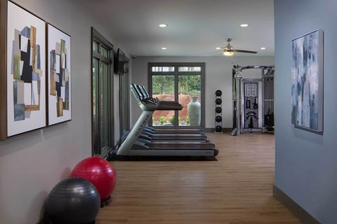 Fitness Center with Treadmills, strength training and large windows