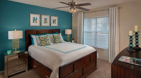 Large Model Bedroom with lighted ceiling fan