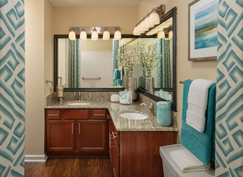 Bathroom with wood style flooring and granite countertops