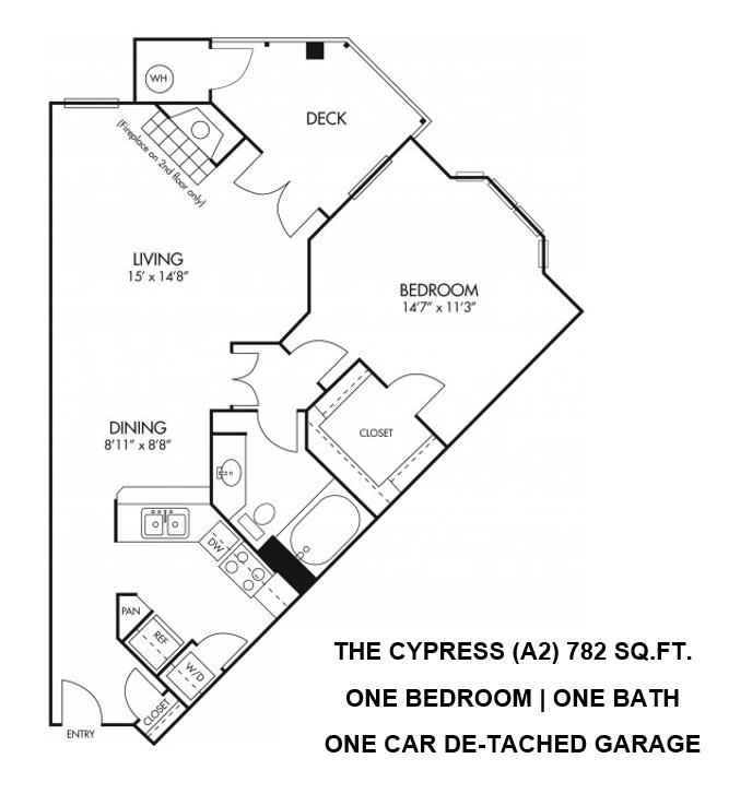Cypress Floorplan - 1 bed, 1 bath, 786 square feet.
