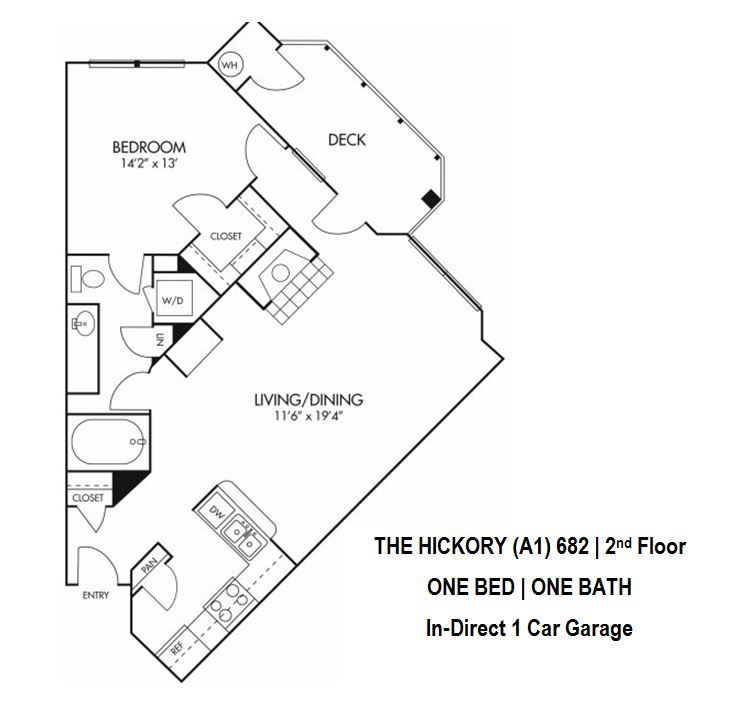 Hickory Floorplan - 1 bed, 1 bath, 682 square feet, 2nd level.