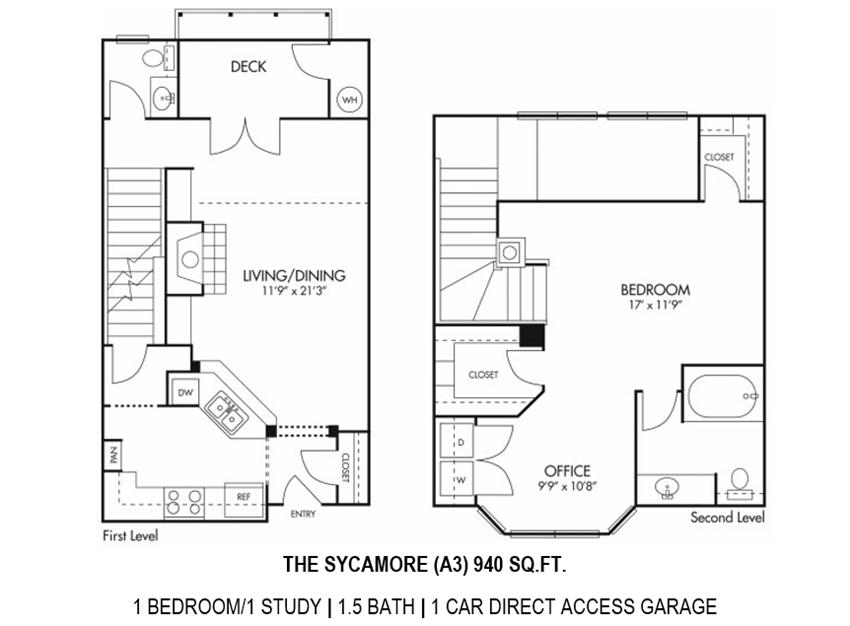 Sycamore Floorplan - 1 bed, 1.5 bath, 940 square feet, Townhome