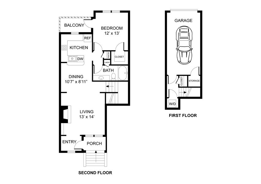 One bedroom, one bathroom, townhome,  walk-in closet, laundry room, hvac room, pantry, living room, kitchen THE AMHERST floor plan, 819 square feet.