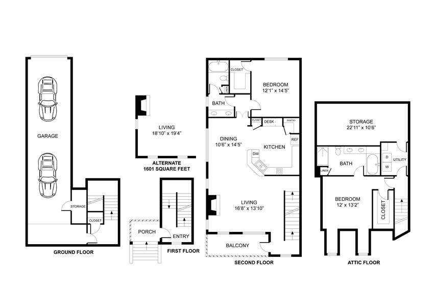 Two bedroom, two bath, kitchen, pantry, coat closet, living/dining room, two walk in closets, linen closet and laundry room. THE BEVERLY floor plan, 1516 square feet.