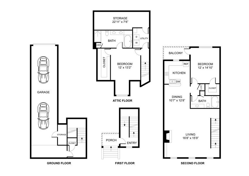 Two bedroom, two bathroom, town home, walk in closet, laundry room, hvac room, pantry, living room, kitchen.THE HARVARD floor plan, 1454 square feet.