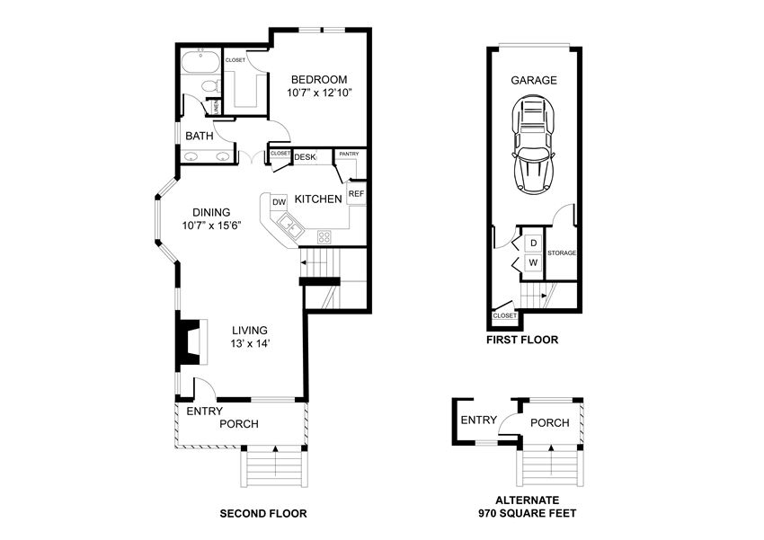 One bedroom, one bathroom, walk in closet, laundry room, hvac room, pantry, living room, kitchen THE ST. JOHNS floor plan, 926 square feet.