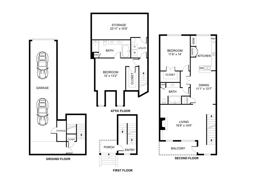 Two bedroom, two bath, townhome,  kitchen, pantry, coat closet, living/dining room, two walk in closets, linen closet and laundry room. THE LAKESIDE floor plan, 1508 square feet.