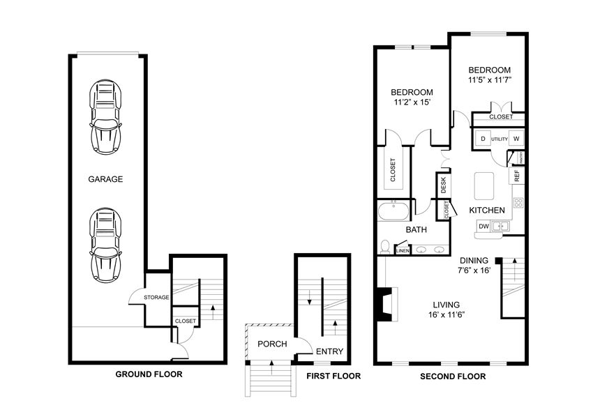 Two bedroom, one bathroom, town home, walk in closet, laundry room, hvac room, pantry, living room, kitchen.THE STANFORD floor plan, 1143 square feet.