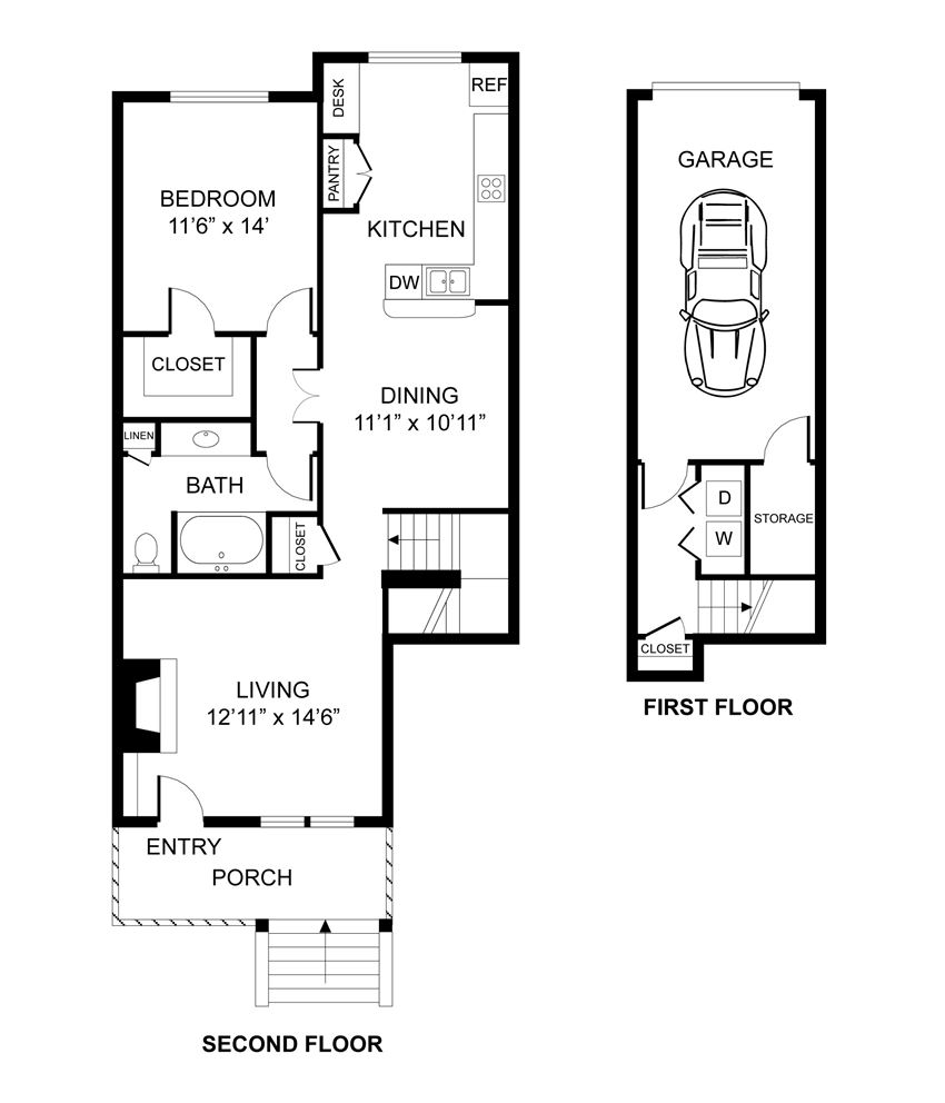 One bedroom, one bathroom, townhome,  walk-in closet, laundry room, hvac room, pantry, living room, kitchen THE VILLANOVA floor plan, 904 square feet.