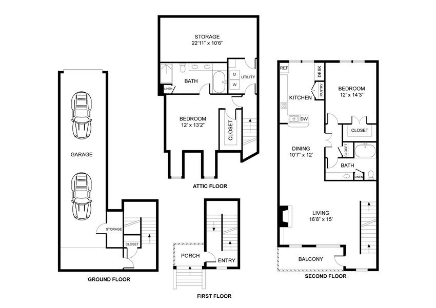 Two bedroom, two bathroom, walk in closets, laundry room, hvac room, pantry, living room, kitchen THE WINDSOR floor plan, 1508 square feet.