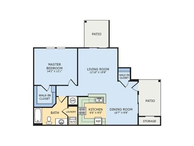 A3 Cottonwood One Bedroom Apartment Floor Plan at Thornberry Woods Apartment Homes, Naperville, Illinois