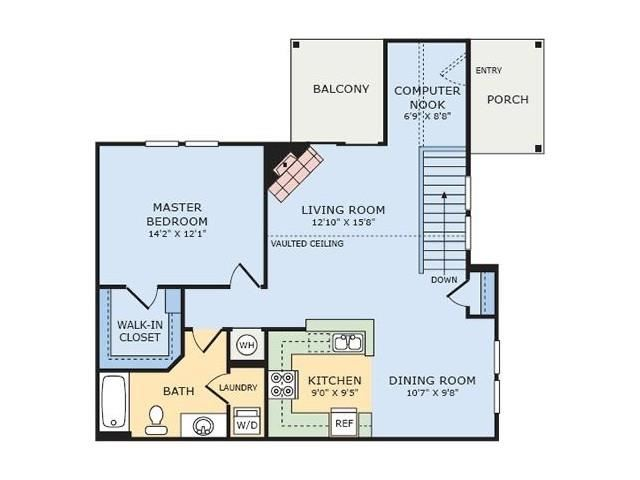 A4 Cypress One Bedroom Apartment Floor Plan at Thornberry Woods Apartment Homes, Naperville