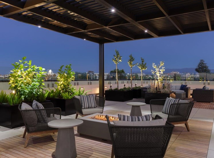 rooftop lounge with firepit and seating