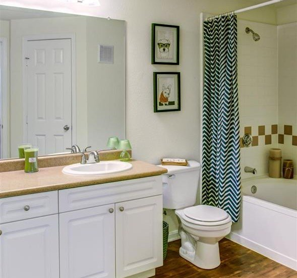 bathroom view: sink, toilet, and shower/bathtub