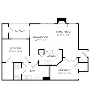 Quail Landing | B1 Floor Plan 2 Bedroom 1 Bath