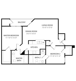 Quail Landing | B2 Floor Plan 2 Bedroom 2 Bath