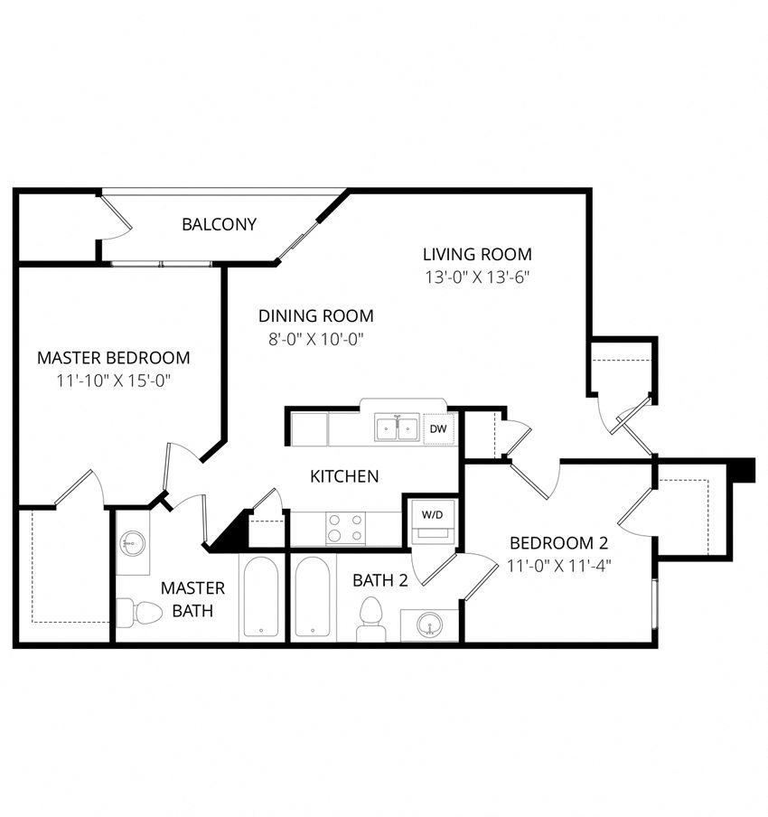 Quail Landing | B2 Floor Plan 2 Bedroom 2 Bath