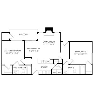Quail Landing | B3 Floor Plan 2 Bedroom 2 Bath