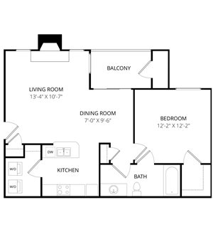 Quail Landing | A1 Floor Plan 1 Bedroom 1 Bath